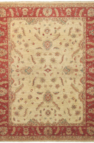 Sultan Abad Design Hand Knotted 8'x10' Beige Red Area Rug