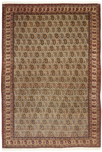 Hand Knotted Persian Paisley Design 8'x12' Wool Silk Area Rug