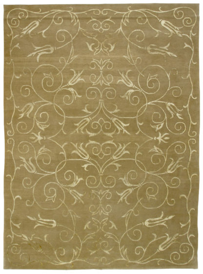 Wool & Silk Tibetan 9'x12' Moss Gold Area Rug