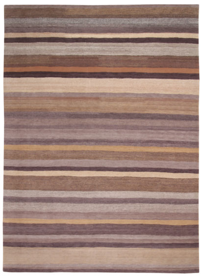 Hand Knotted Tibetan 8'x10' Wool Stripes Area Rug