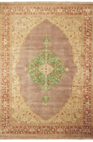 Hand Knotted Tabriz Design India 9'x12' Brown Green Area Rug