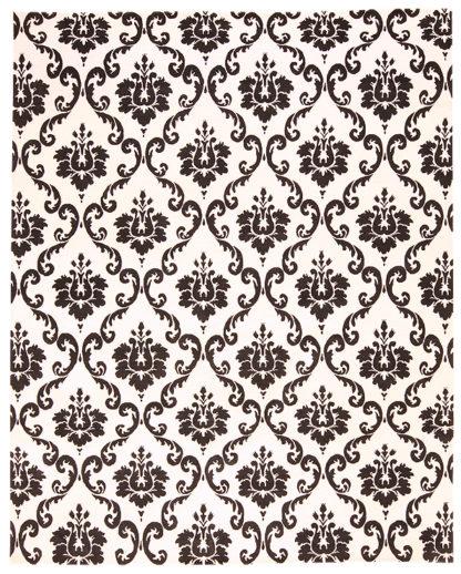 Damask Design 8'x10' Black Ivory Wool Area Rug