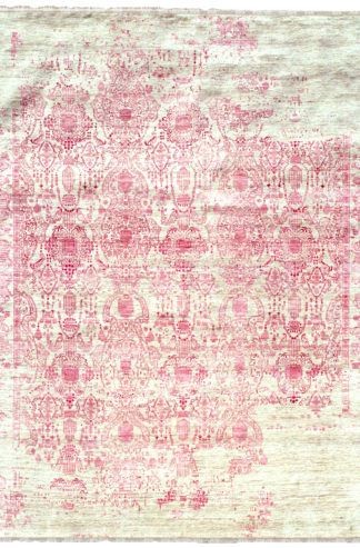 Transitional Damask 9′ x 12′ Wool Silk Beige Pink Area Rug