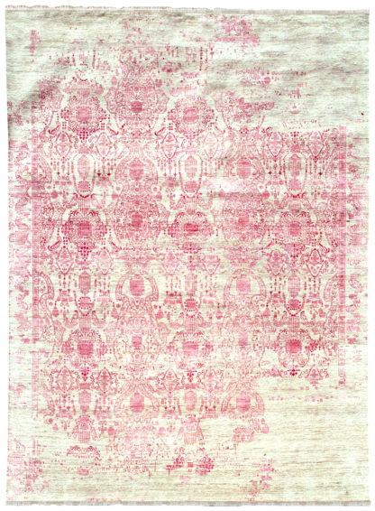 Transitional Damask 9′ x 12′ Wool Silk Beige Pink Area Rug