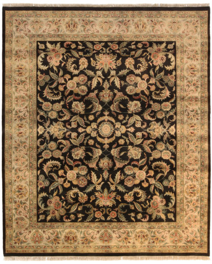 Hand Knotted Jaipur 8' x 10' Black Beige Wool Area Rug