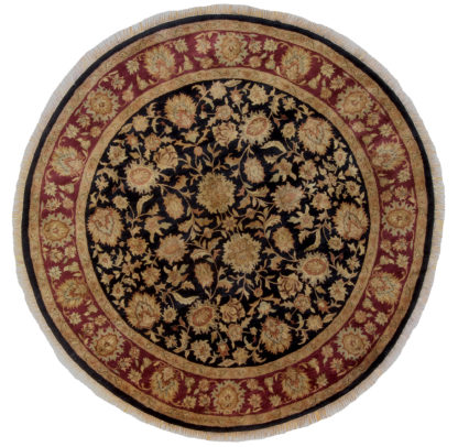 Hand Knotted Jaipur 8' Round Wool Area Rug