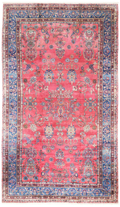 Antique Persian Kerman c1920 11' x 18' Blue Rose Area Rug