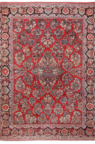 Persian Sarouk 9' x 12' Red Wool Area Rug
