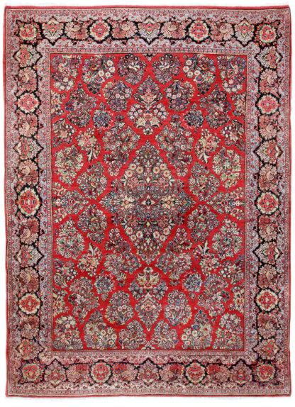Persian Sarouk 9' x 12' Red Wool Area Rug