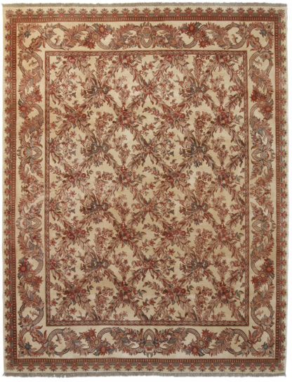 Hand Knotted Lattice Design 8' x 10' Wool Area Rug