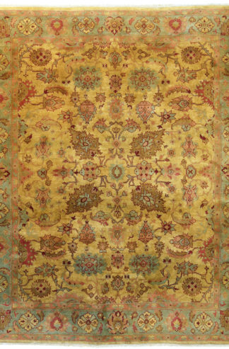 Indo-Persian Heriz Design 8x10 Gold Green Area Rug