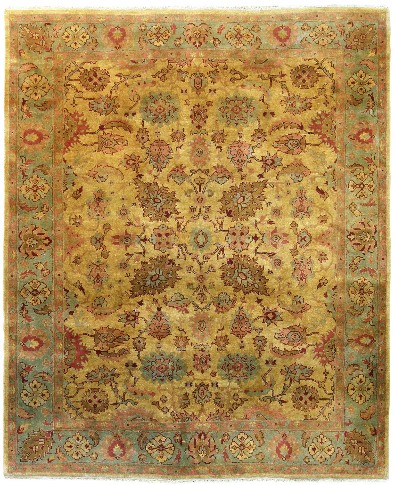 Picture of: Indo Persian Heriz Design 8×10 Gold Green Area Rug Turco Persian Rug Company Inc