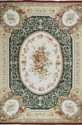 Aubusson Design Needlepoint 9x12 Green Beige Area Rug