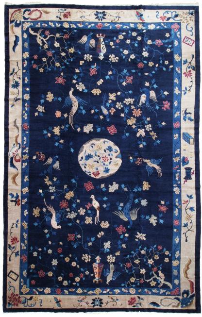 Antique Peking c1900 11'x17' Blue Wool Area Rug