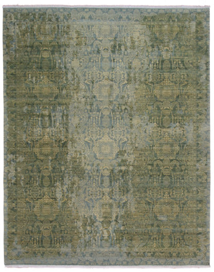Indo Transitional 8x10 Green Gold Wool Area Rug
