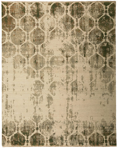 Hand Knotted Transitional 8'x10' Beige Green Area Rug