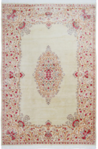 Persian Kerman Aubusson Design 10'x15' Ivory Rose Area Rug