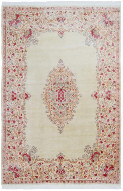 Persian Kerman Aubusson Design 10'x15' Ivory Rose Area Rug