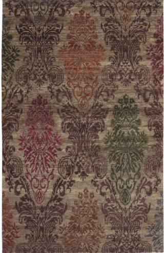 Hand Knotted Damask Design 5'x8' Wool Area Rug