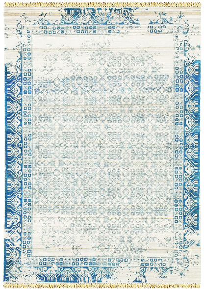 Pearl Transitional 8'x10′ Wool Silk Ivory Turquoise Area Rug