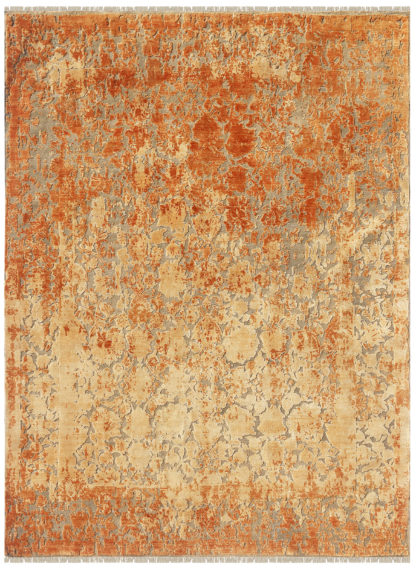 Textured Hand Knotted 6′ x 9′ Wool Silk Area Rug