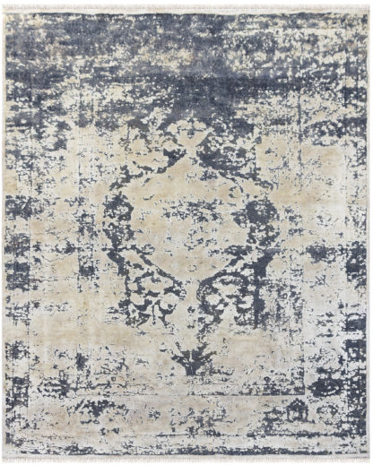 Textured Hand Knotted 8' x 10' Wool Silk Grey Ivory Area Rug