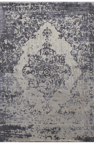 Transitional 6'x9' Art Silk Wool Grey Area Rug