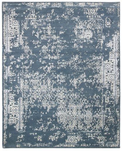 Transitional 6'x9′ Wool Slate Blue Area Rug