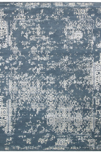 Transitional 8'x10' Wool Slate Blue Area Rug