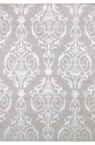 Transitional Damask Design 8x10 Grey Area Rug