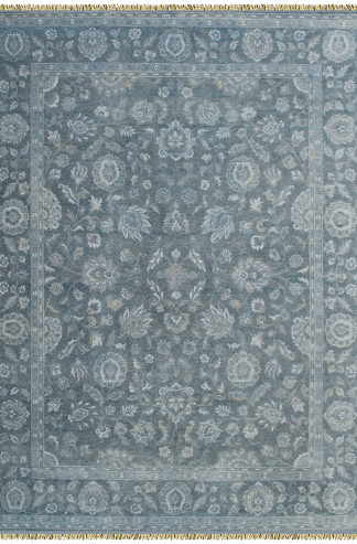 Hand Knotted Traditional Design 6'x9' Grey Blue Area Rug