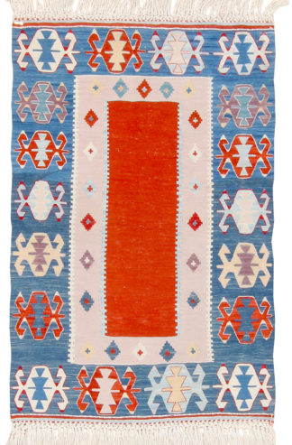 Balikesir Kilim 3'x4' Red Blue Area Rug