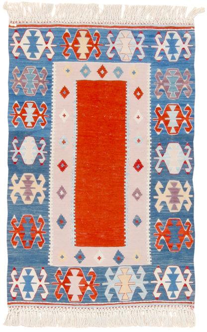 Balikesir Kilim 3'x4' Red Blue Area Rug