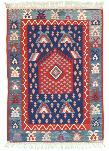 Balikesir Kilim 4'x5' Red Blue Area Rug