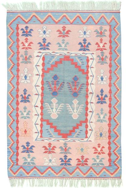 Balikesir Kilim 4'x5' Pink Blue Area Rug
