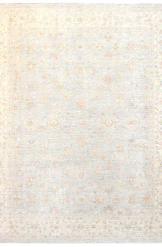 Hand Knotted Wool Chobi 8'x10' Blue Beige Area Rug