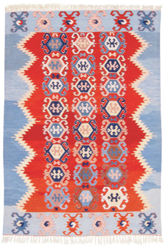 Balikesir Kilim 5'x8' Red Blue Area Rug