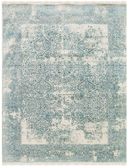 Mulberry Transitional 8'x10' Ivory Turquoise Area Rug