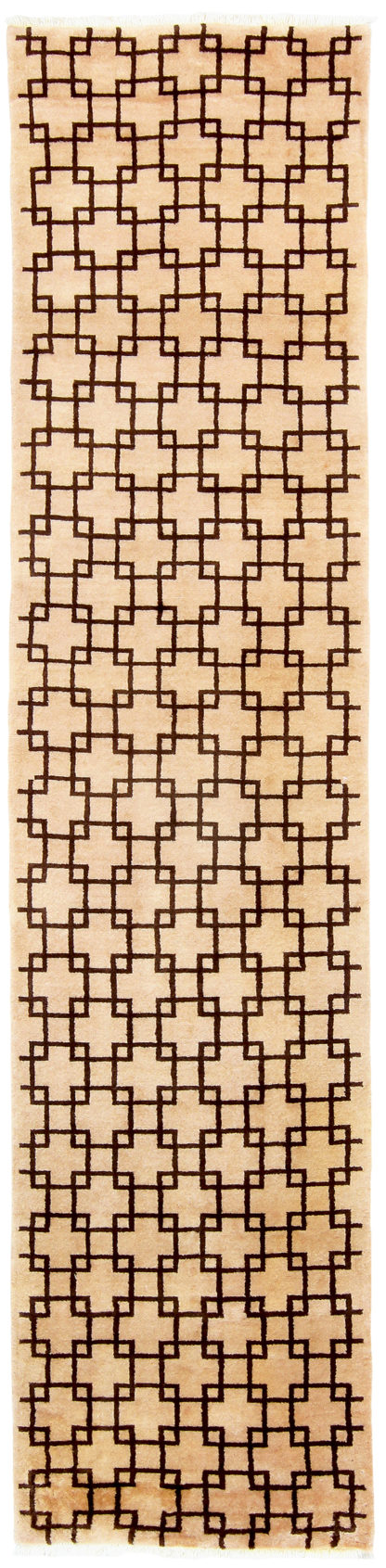 "Lattice Runner 2'6"" x 8'6"" Beige Brown Area Rug"