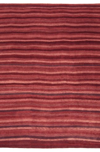 Hand Knotted Wool 8'x10' Striped Brown Area Rug