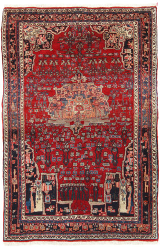 Persian Bidjar c1930 4'x7' Wool Tribal Area Rug
