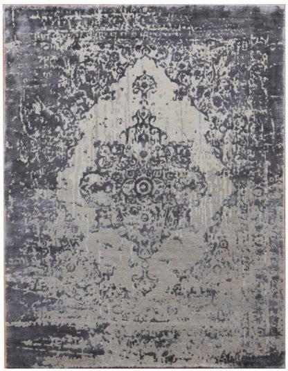 Transitional 8'x10′ Art Silk Wool Grey Area Rug