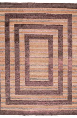 Hand Knotted Wool 9'x12' Brown Beige Area Rug