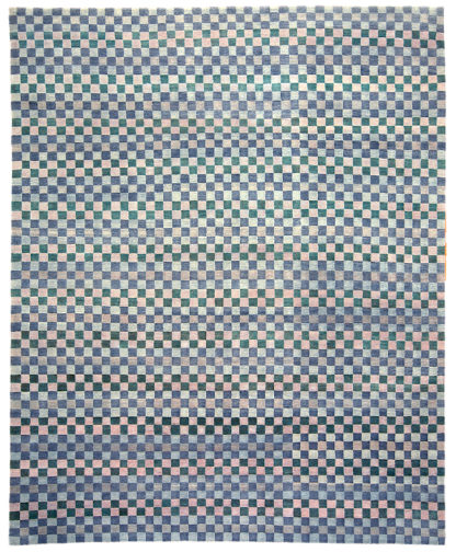 Hand Knotted Wool 9'x12' Blue Beige Area Rug