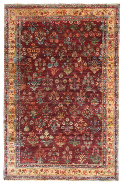 Oversize Hand Knotted Wool 12'x18' Beige Red Area Rug