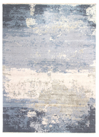 Hand Knotted Contemporary 9' x 12' Wool Grey Blue Area Rug