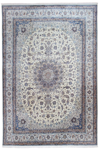 Persian Nain 6La 12'x17' Blue Ivory Wool Silk Area Rug