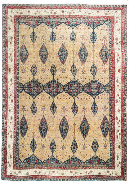 Antique Agra Oversize c1890 12'x16' Green Red Ivory Wool Area Rug
