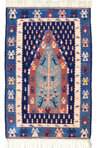 Balikesir Kilim 4'x6′ Red Blue Area Rug