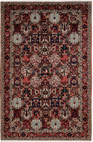 Persian Bakhtiari Garden Design 6'x10' Red Blue Area Rug